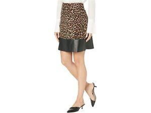 Michael Michael Kors Leopard Print & Faux Leather Skirt $98 Size XL # 6B 1034 N