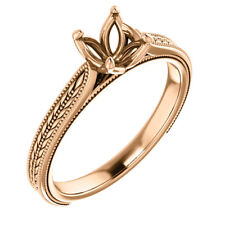 10k Rose Gold 6mm Round Solitaire Semi Mount Engagement Wedding Bridal Ring