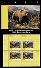 British Columbia #3 1997 Grizzly Bear Conservation Stamp Mini Sheet In Folder