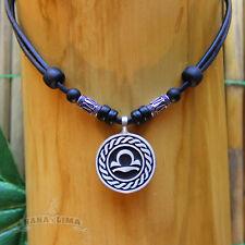 Sternzeichen Halskette WAAGE Libra verstellbar Lederkette Tierkreiszeichen Sonne