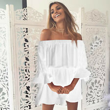Womens Summer Off Shoulder Beach Mini Sundress Lady Casual Short Dress Long Tops