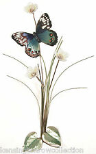 WALL ART - BLUE BUTTERFLY WITH WILDFLOWERS METAL WALL SCULPTURE - WALL DECOR