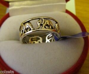 ELEPHANT  HERD RING .925 silver by Peter Stone