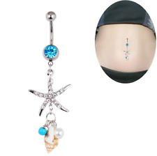 Starfish Conch Belly Button Rings Tribal Dangle Set Surgical Steel 14G Barbell
