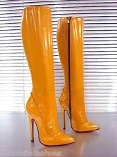 MORI ITALY EXTREME HEELS KNEE HIGH BOOTS STIEFEL STIVALI LEATHER BEIGE YELLOW 37