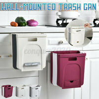Wall Mounted Foldable Kitchen Cabinet Hanging Trash Can Collapsible Waste Bin