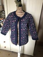 FAT FACE Indian Garden Ladies Navy Blue Floral Quilted 3/4 Sleeve Jacket Size 10