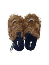 Mixit House Slippers Size Large Black With Brown Faux Fur Fuzzy Soft Comfy