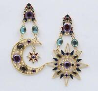 BETSEY JOHNSON STAR & MOON CRYSTAL DROP DANGLE EARRINGS