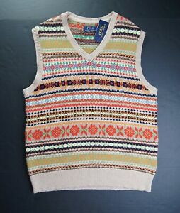 POLO RALPH LAUREN Men's Cotton/Silk/Cashmere Fair Isle Sweater Vest NEW NWT
