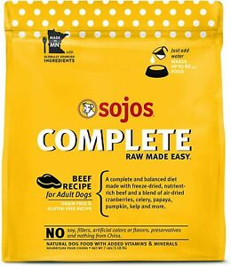 SOJOS Complete Freeze-Dried Beef Grain-Free Raw Dog Food, 7 Pounds