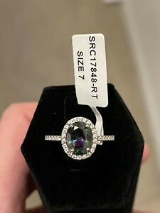 Oval Rainbow Topaz Cubic Zirconia Sterling Silver Ring Size 7