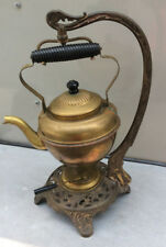 Bradley& Hubbard Teapot/Stand; Complete 5 Pc; c1890s; Brass pot, Cast Iron Stand