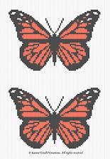 Crochet Patterns - MONARCH BUTTERFLY/BUTTERFLIES GRAPH CHART AFGHAN pattern