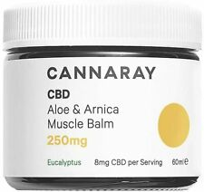 Cannaray C.D Aloe & Arnica Muscle Balm 250mg Eucalyptus 60ml. FREE P+P exp 07/21