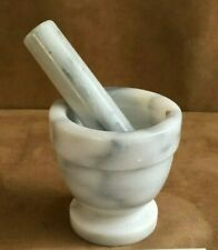 Mortar And Pestle Footed white gray Marble Natural Stone Set crush