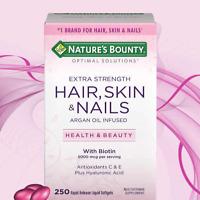 Hair Skin and Nails Nature's Bounty Vitamin 5000 mcg of Biotin 250 Softgels 2021