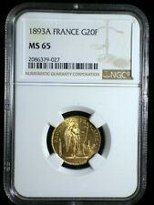 Republic of France 1893 Gold 20 Francs *NGC MS-65* Investment Quality Low Start