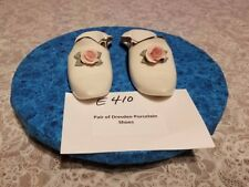 E410 Vintage A 2 Piece Lot of  Dresden Porcelain White Shoes/Slippers Pink Roses