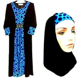Muslim Children Abaya Robe With Hijab Long Sleeve Dresses Islamic Kid Set   More
