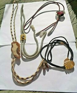 Lot of 4 Vintage Men's SouthWestern Jeweled Bolo Ties. Agates, Red Hickok