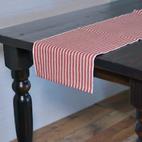 """HARMONY RED Ribbed Table Runner Farmhouse Stripe White VHC Brands 13""""x 72"""""""