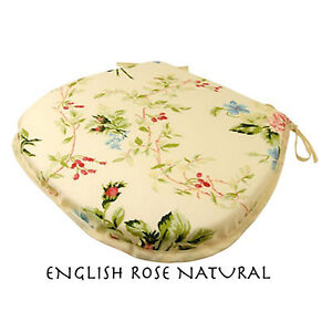 CHEAP SET OF 4 / 6 FLORAL DINING CHAIR SEAT PADS CUSHIONS - TIE ON - D-SHAPE