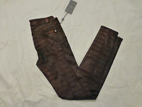 NWT WOMENS 7 FOR ALL MANKIND THE SKINNY PANTS MAROON SHEEN