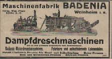 WEINHEIM, Werbung / Anzeige 1913, Maschinenfabrik Badenia Dampf-Dreschmaschinen
