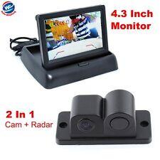 "Car Reverse Parking Camera With Radar Sensor&4.3"" Foldable LCD Rear View Monitor"