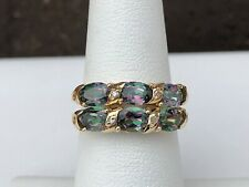 10K YELLOW GOLD MYSTIC FIRE TOPAZ & DIAMOND STACKABLE RINGS SIZE 7