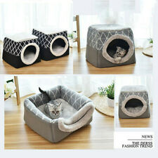 US Foldable Dog Cat House Tent Cave Sleeping Bed Pad Pet Kennel Puppy Soft Warm