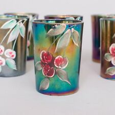 """Set of 6 Antique Northwood Carnival Glass Tumbler Cups Enameled Cherries 4"""""""