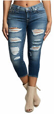 True Religion Women's Halle Super Skinny Fit Stretch Capri Crop Destroyed Jeans