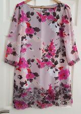 Monsoon Dusky Pink Multi Floral size UK 12 Dress. 3/4 Sleeve Length. Worn Twice.
