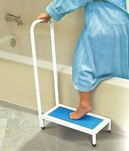 HD Bath Step Bathtub Shower Stool With Handle Nonslip Supports Up to 500 lbs,