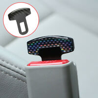2x Carbon Fiber Car Safety Seat Belt Buckle Alarm Stopper Clip Clamp Accessories