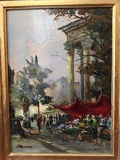 Brosius Julien Le Marché aux Fleurs beau tableau milieu XXème huile sur toile