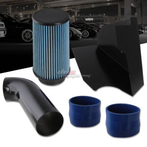 FOR 1996-2000 CHEVY/GMC GMT400 5.0L/5.7L COLD AIR INTAKE+HEAT SHIELD+BLUE FILTER