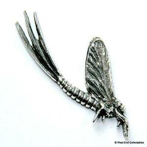 Mayfly Fishing Pewter Pin Brooch Badge - UK Hand Made- Nymph Fly Angling Gift