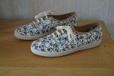 Ladies HOTTER MABEL Grey Floral Textile Canvas Lace Up Shoes Size 6.5 STD BNIB