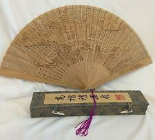 Vintage Wood Japanese Hand Fan CHINESE Paper Punched Village Scene Wedding BOX