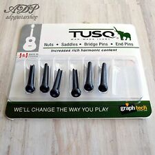 6  Chevilles Tusq-2182 Black Abalone Dot Graph Tech Acoustic Guitar Bridge Pins