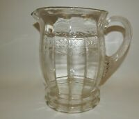 Vintage Crystal Clear Glass Depression Large Pitcher with Applied Handle