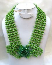PrestigeApplause Green & Silver Signature Design African Beads Necklace Jewelry