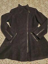 $60 L GUESS Navy Wool Blend Bouclé Asymmetrical Zipped Fit & Flare Coat/ Pre-own