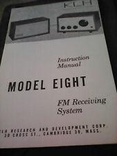 K L H Owner,s Instruction Manual Modlel Elght