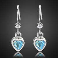 Free Shipping Love Heart SApphire 18K White Gold Plated Gp Earring Stick Earings