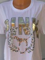 Victoria's Secret VS PINK Bling Large Logo White Long Line Tee Size M BNIB