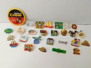 Lot of 27 Vintage McDonalds Crew and Regional Employee Enamel Pins